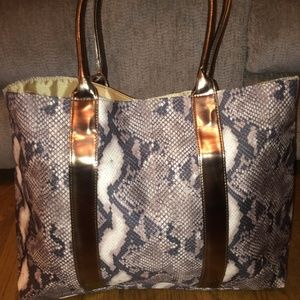 Large Oversized Double Handle Snake Print Tote